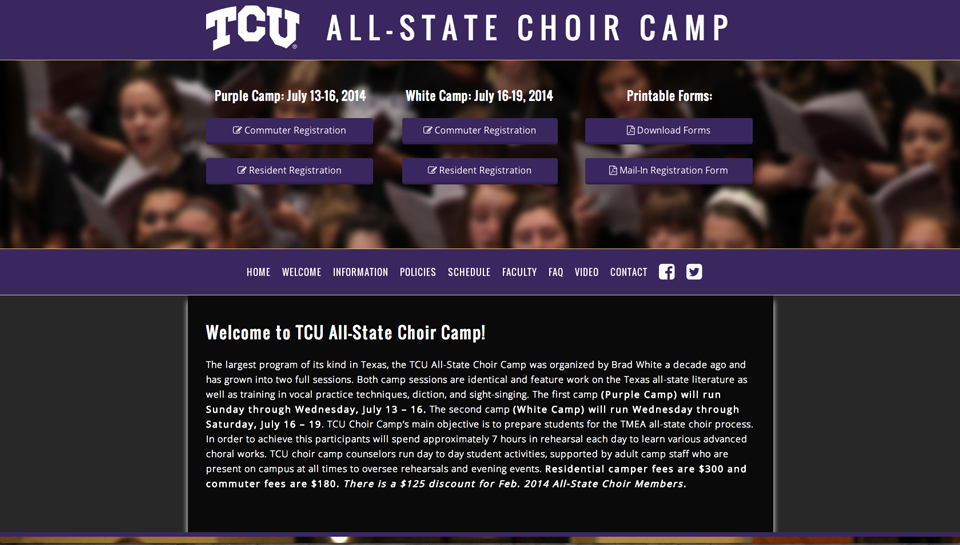 TCU All-State Choir Camp | Rosebrook Media Website Portfolio