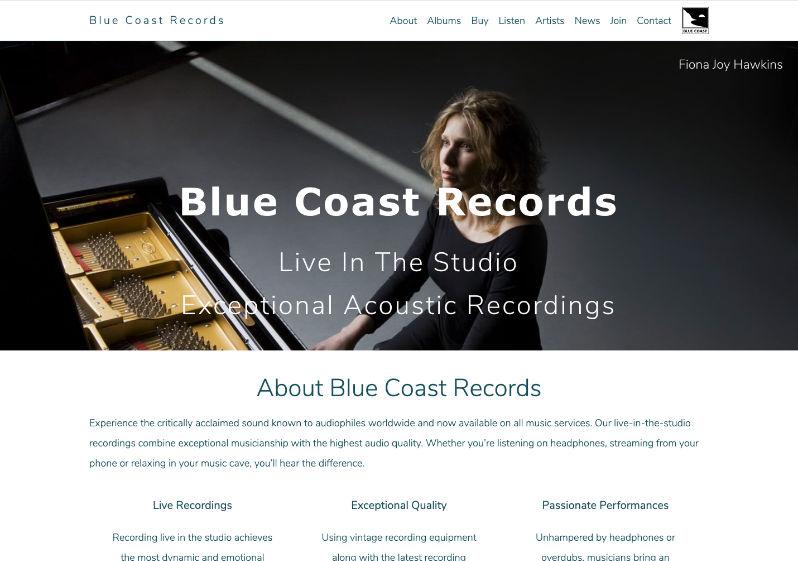 Blue Coast REcords Website screenshot